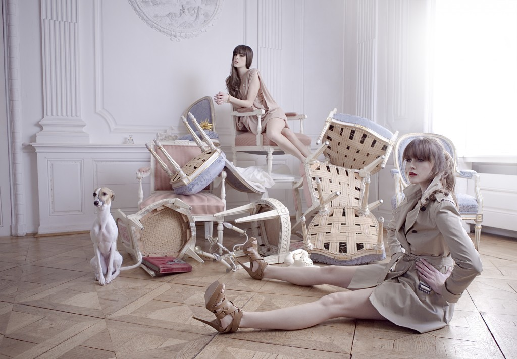 models-girl-dog-posing-chairs-interior-furnishings